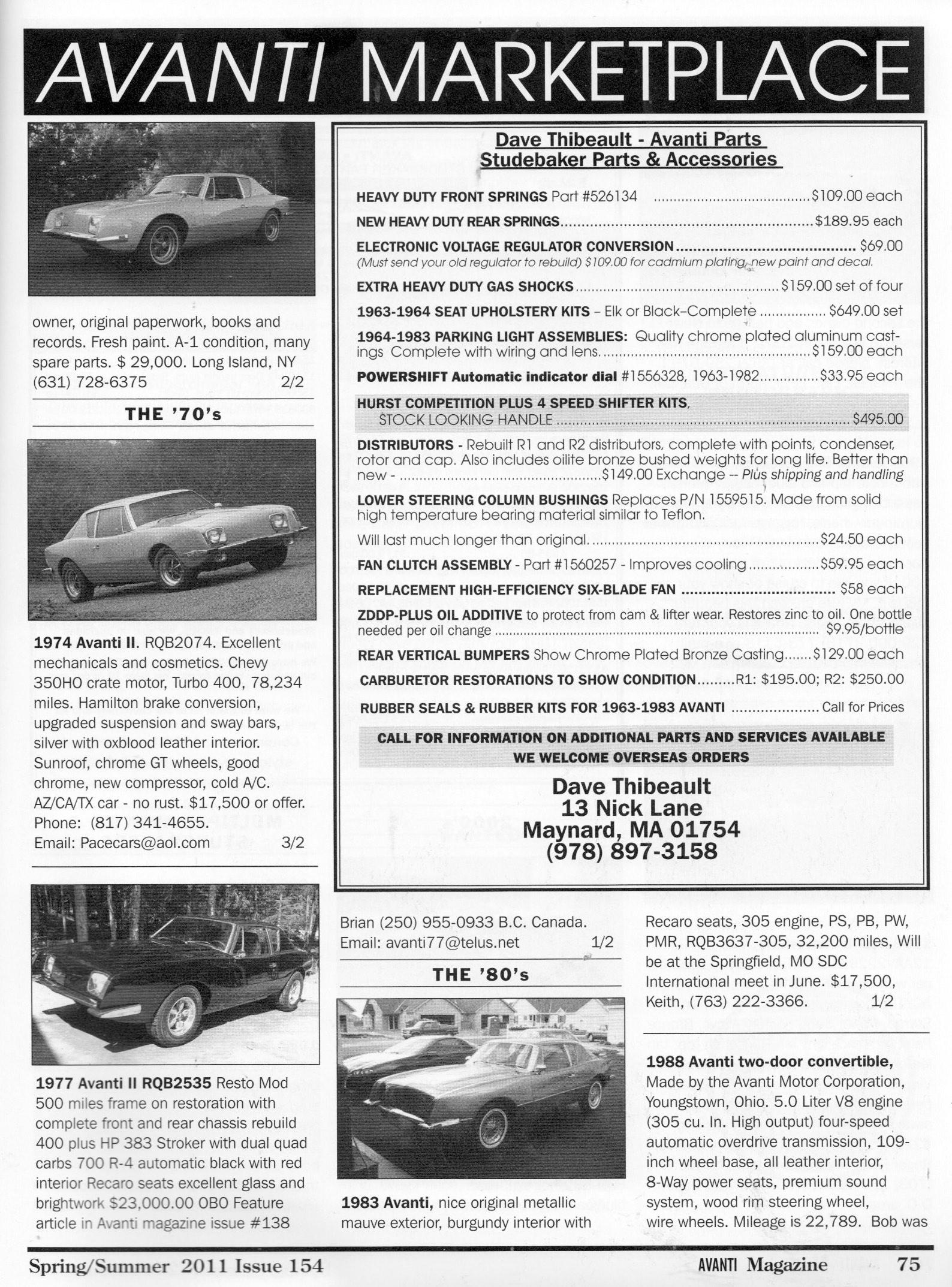 Bob Johnstones Studebaker Resource Website ( Avanti II RQB ...