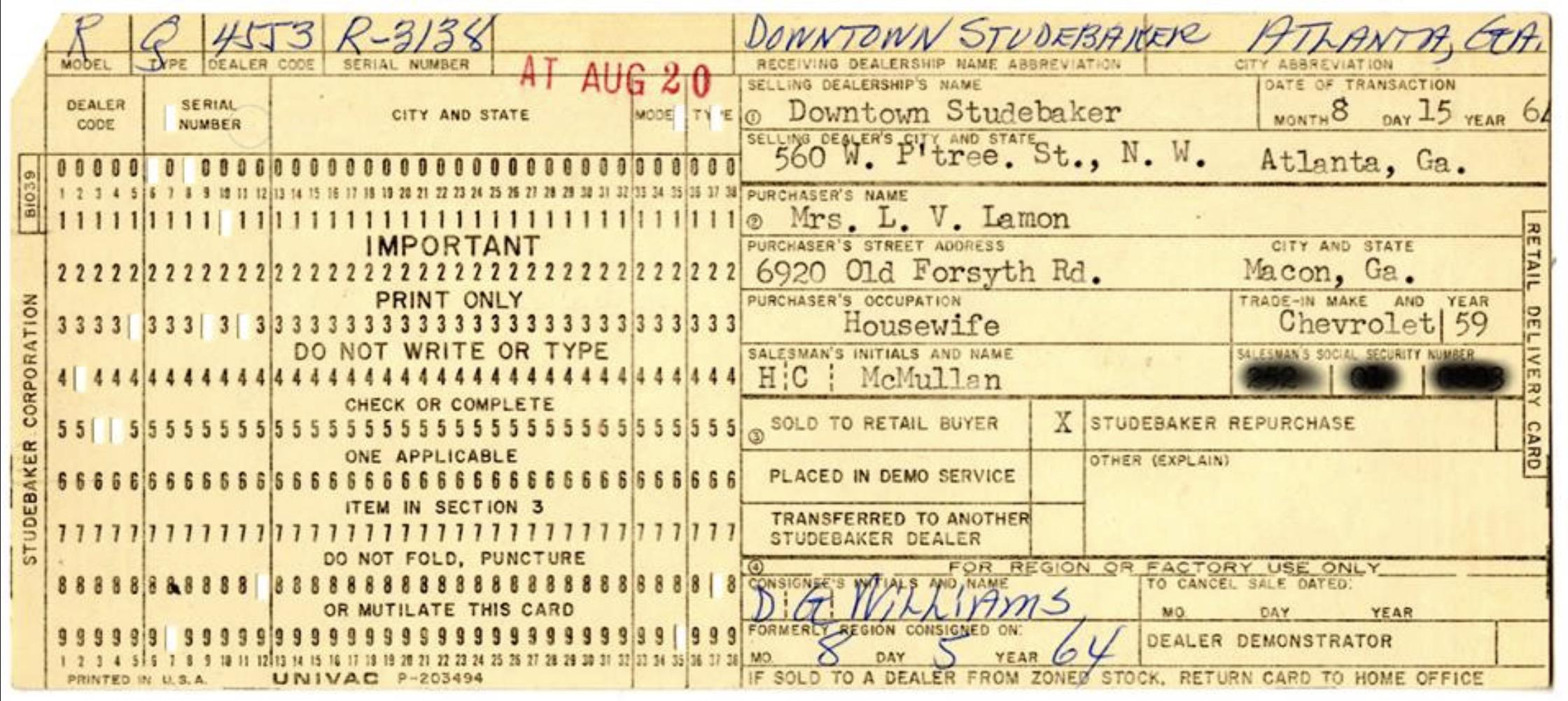 Bob's Studebaker Resource Website (Studebaker Avantis R-3000