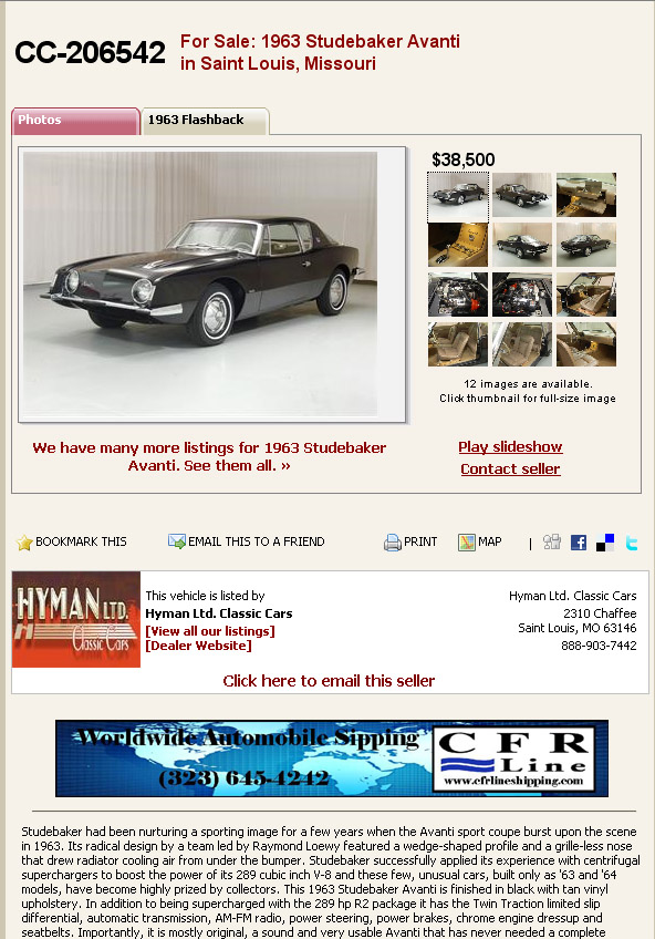 (Miscellaneous Avanti Sales) Bob's Studebaker Resource Website