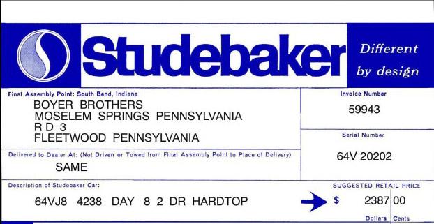 Bob 39 s studebaker resource website studebaker dealer for Boyer motor co ephrata pa