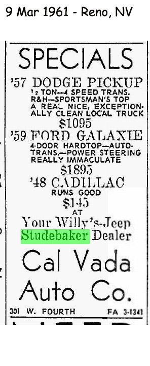 Bob 39 s studebaker resource website studebaker dealer for Elko motor company elko nevada