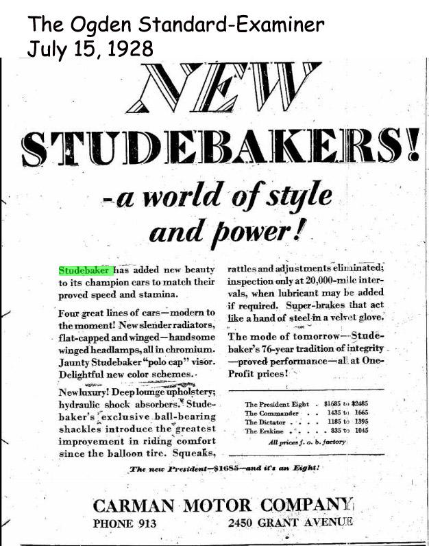 Bob 39 s studebaker resource website studebaker dealer for Cedar city motor company