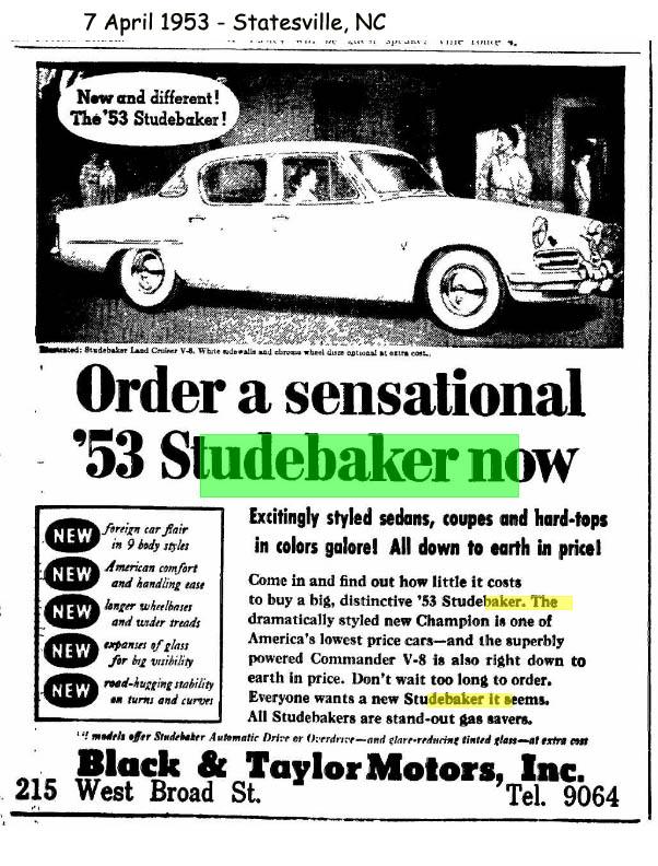 bob 39 s studebaker resource website studebaker dealer listing north carolina state page. Black Bedroom Furniture Sets. Home Design Ideas