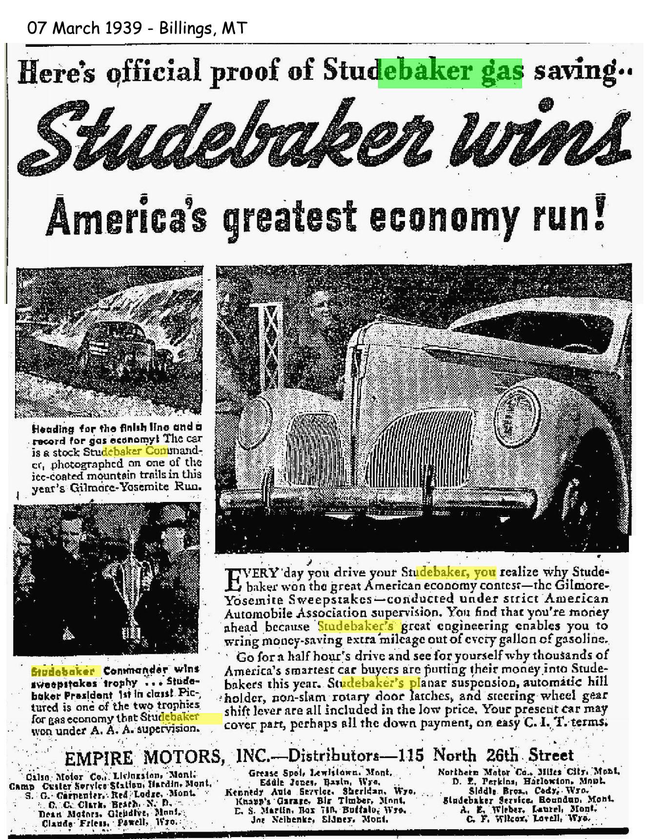 Bob s Studebaker Resource Website Studebaker Dealer Listing
