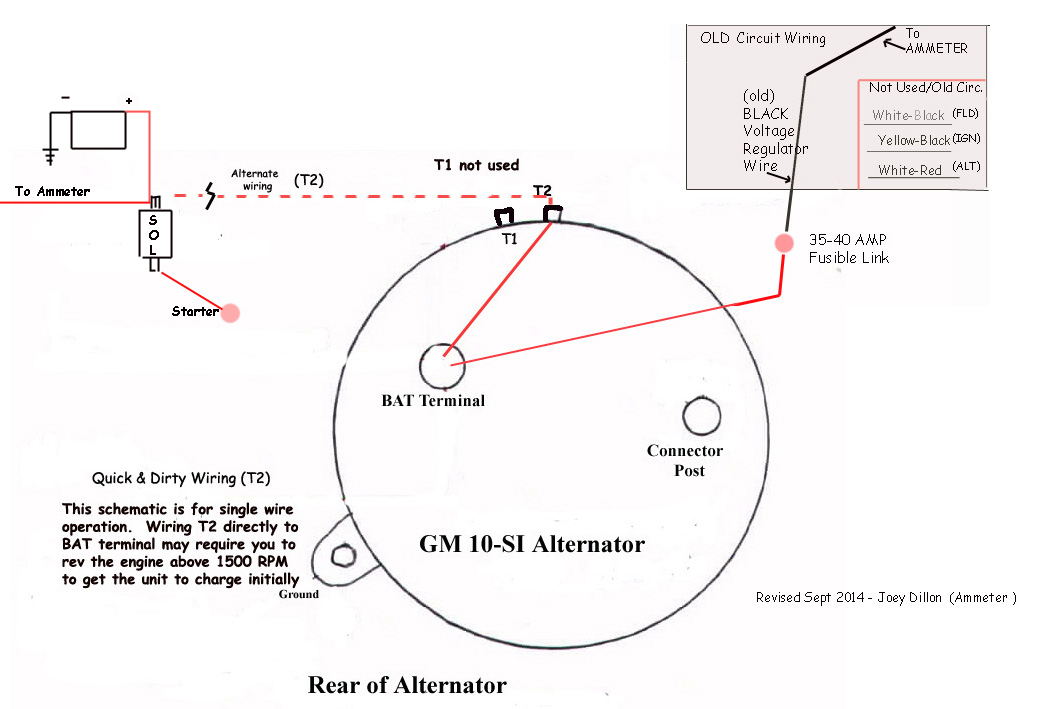 gm 10 si alternator diagram single wire
