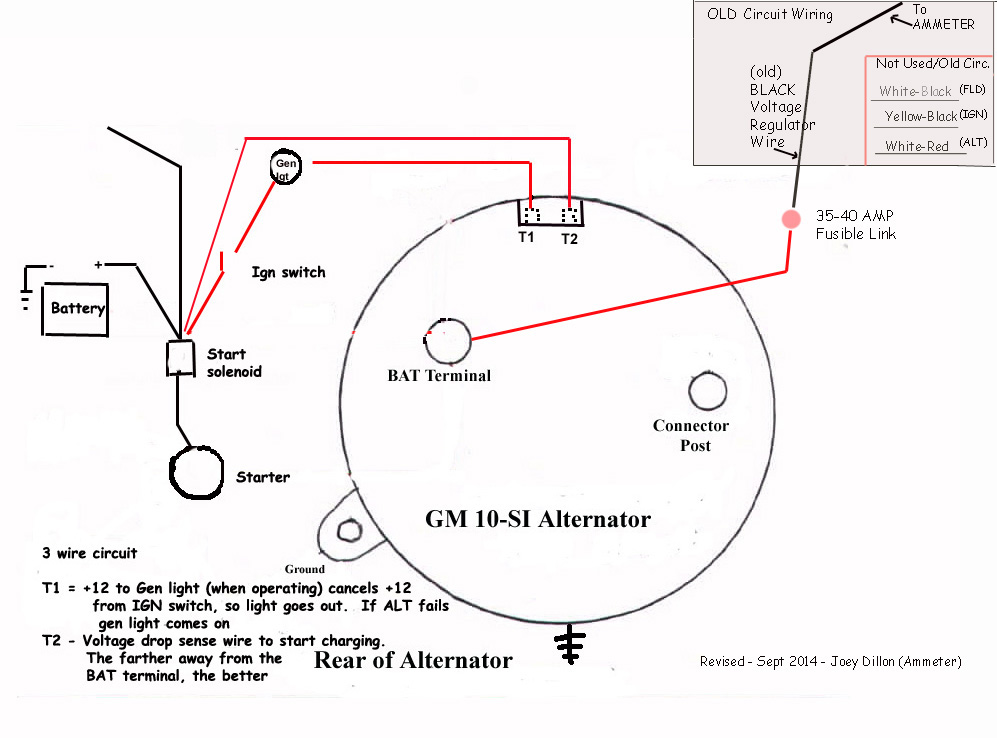 alternator wire thickness the sensing wire should be tied into the main power distribution junction in your harness the others are explained in the pic